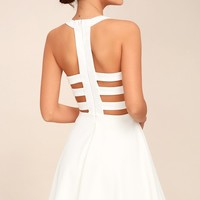 Call Back White Backless Skater Dress