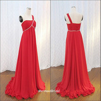 2013 One shoulder A line red prom dress  Long by MermaidBridal