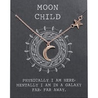 Rose Gold Dainty Moon & Star Necklace