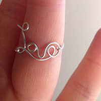 Love Ring, Sterling Silver Love Ring, Silver Worded Love Ring, Sterling Love Statement Ring