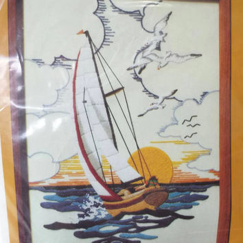 Vintage Sewing Crewel Kit, Sunset Sailing, New in Package, Needlework Kit, Embroidery, Seagulls, Nautical, Ocean, Sailboat , Blue,Yellow