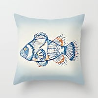 BLUE FISH Digital Painting Throw Pillow by digitaleffects