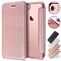 CreatValu Back TPU PU Leather Flip Phone Case Silicone Slot Cover Wallet for iPhone 6 6s plus For iPhone 7 8 plus For iPhone 5 +