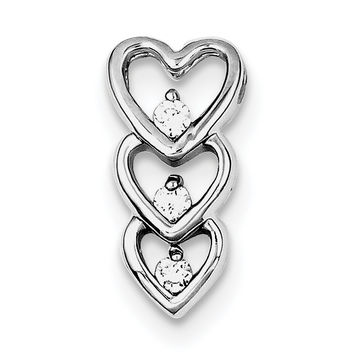 Sterling Silver Rhodium Plated CZ Multi Hearts Slide Pendant QP2801