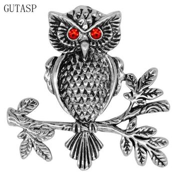 ac spbest GUTASP Brooch Badge Scarf Buckle Austrian Crystal Cute Owl Shape Brooch Pins Clothes Buckle Relatives Friends Beautiful Gift