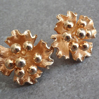 Kramer Flower Earrings Gold Tone Clip On Dimensional 3D Vintage