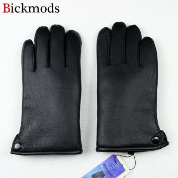 2017 winter thick men's synthetic leather material points finger gloves straight button style outdoor windproof warmth
