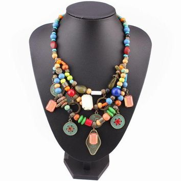 ac spbest vintage alloy coin pendant multi color wood bead bib chunky statement women necklace gift 2017 brand new design fashion necklace