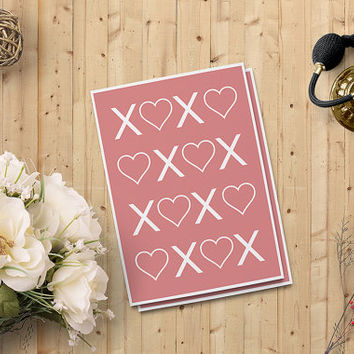 "Valentine's Day Cards for her, XOXO Card, Heart Love Card Digital Printable Card, 5""x7"" Instant Download - Heart Digital Print - on SALE 50%"