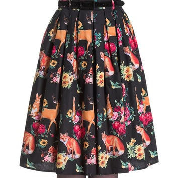 Flora and Fauna Flared Knee Skirt
