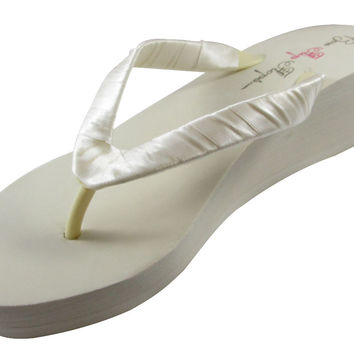 Ivory 2 inch Bridesmaid, Bridal Wedge Flip Flops