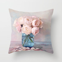 English Roses Throw Pillow by sylviacookphotography