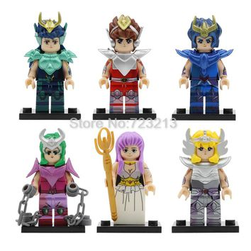 6pcs Bronze Saint Seiya Athena Cartoon Figure Set Saori Kido Ikki Hyoga Shun Building Blocks Sets Models Bricks Toys PG8128