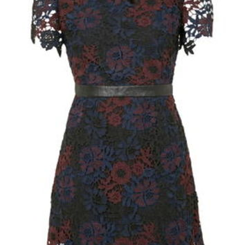 Tonal Lace Shift Dress - Navy Blue
