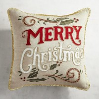 Red & Gold Beaded Merry Christmas Pillow