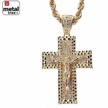 """Jewelry Kay style Men's Hip Hop Iced Out Jesus On Cross Pendant 30"""" Rope  Chain Necklace HC 5012 G"""