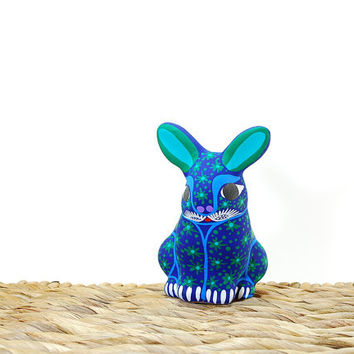Night sky pottery bunny in purple and green - Starry pattern ceramic - Navy blue figurine - Stars pottery