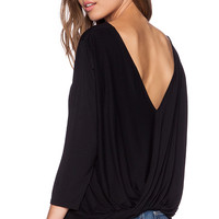 Michael Stars 3/4 Sleeve Cross Over Back Top in Black