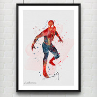 Spiderman Watercolor Art Poster Print, Marvel SuperHero Poster, Wall Art, Home Decor, Boy's Gift, Not Framed, Buy 2 Get 1 Free! [No. 195]