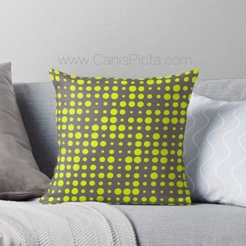 Modern Chartreuse Dots Throw Pillow Cushion Decorative Cover Home Interior Couch Bed Room Decor Modern Geometric Pattern Neon Hot Dark Grey