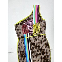 Fendi Fashion New Embroidery Letter And More Letter Print Dress Women