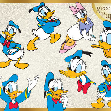 32 Donald Duck Clipart PNG Donald Digital Graphic Image Daisy Duck Clip Art Scrapbook Invitations INSTANT DOWNLOAD printable 300 dpi