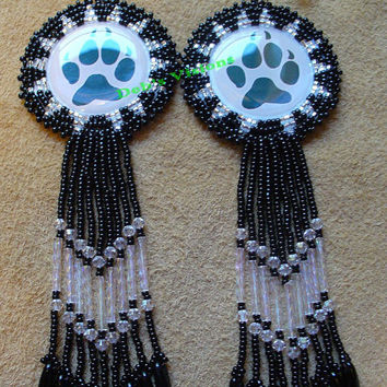 Rosette beaded Wolf Paw Earrings