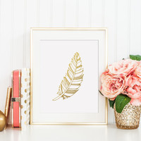 Feather Gold Foil Print - gold foil print - feather print - feather decor - gold foiled print - gold home decor - gold office decor - gold