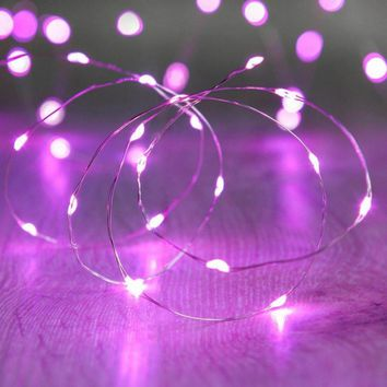20 Led Copper Fairy Lights - Purple