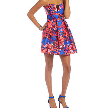 B. Darlin Floral Print Illusion-V Dress | Dillards