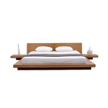 King Size Modern Japanese Style Platform Bed With 2 Nightstands In Oak