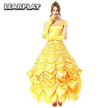 Beauty and the Beast Belle Dress Cosplay Costumes Adult Women fancy Party dresses  Halloween Dance Princess Performance Uniform