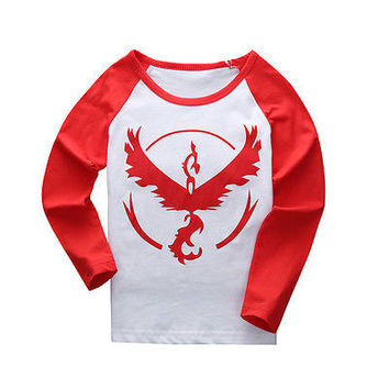 2016 Autumn kid Clothes Pokemon Go Team Valor Red Cotton T-shirt Boy Girls Kids Long Sleeve Shirt Tee Tops