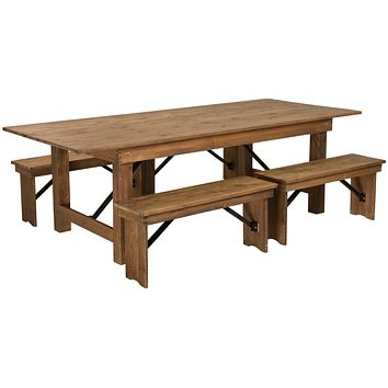 "HERCULES Series 8' x 40"" Folding Farm Table and Four Bench Set"