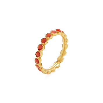 Amrapali Women's Yellow & Coral Eternity Band Ring - Pink - Size 6