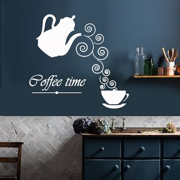 Vinyl Wall Decal Coffee Time Logo Kettle Cup Hot Drink Stickers Unique Gift (2012ig)