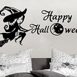 Wall Decal Happy Halloween Holiday Vinyl Sticker Witch On A Broomstick Moon Stars Month Decals Home Decor Bedroom Art Design Interior NS898