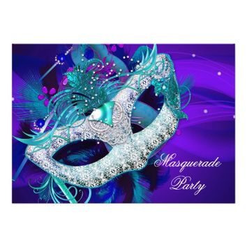Masquerade Ball Party Teal Blue Purple Masks ab