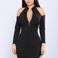 Cold Brew Cold Shoulder Dress - Black