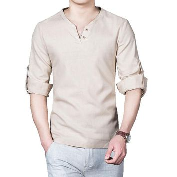 2017 new spring men linen shirt long sleeve solid v neck collar leisure shirts M-5XL CYG195