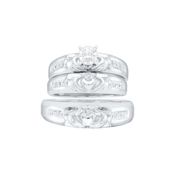 10kt White Gold His & Hers Round Diamond Claddagh Matching Bridal Wedding Ring Band Set 1/8 Cttw 20359