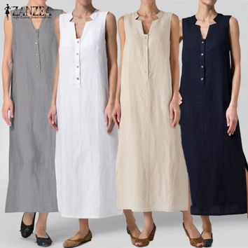 Women's Sleeveless Ankle-Length Summer Casual Maxi Dress.    In Sizes From Small to 5XL.     Colors:  Navy, White, Khaki and Gray.    ***FREE SHIPPING***