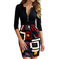 Women's Deep-V Neck 2/3 Sleeveless Slim Business Dress