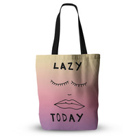 """Vasare Nar """"Lazy Today Tropical"""" Yellow Pink Everything Tote Bag"""