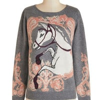 ModCloth Quirky Mid-length Long Sleeve Everything I Do, I Do it for Unicorn Sweater