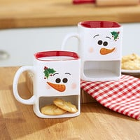 Snowman Christmas Mug Set Cookie Milk Snack Set of 2 Unique Great Gift Stoneware