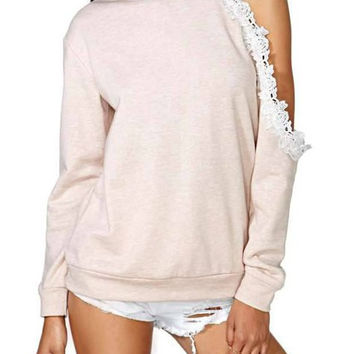 Apricot Long Sleeve Cut Out Lace Sweatshirt