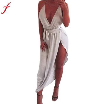 Summer Beach Dress Womens Sexy Deep V Neck Halter Holiday Sleeveless Mini Ladies Split Elegant Maxi Dress