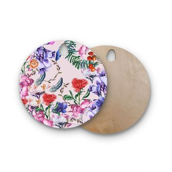 "Mukta Lata Barua ""Painted Florals"" Lavender Pink Nature Pattern Digital Illustration Round Wooden Cutting Board"