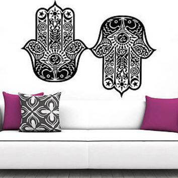 Hamsa Hand Wall Decal Vinyl Sticker Decals Lotus Flower Yoga Namaste Decor C8